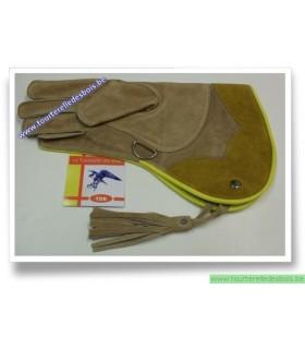 Gant cuir suede camel et naturel 36.cm - Droit