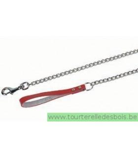 Laisse chaîne 4mm - 40 cm - rouge