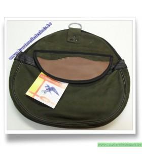 Sacoche de cuir nubuck vert olive avec rabat brun