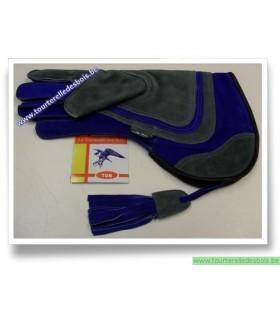 Gant pour aigle argenté et bleu de 39 cm .- DROIT