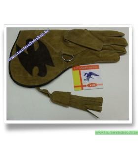 Gant cuir de suede camel / oiseau marron - 36 cm