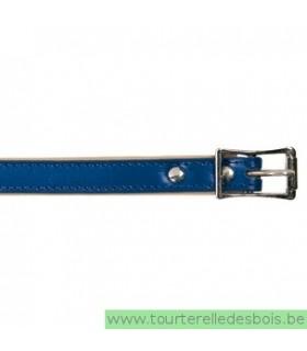 Collier cuir bleu 45 cm/16mm