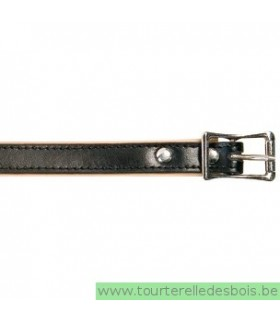 Collier cuir noir 40 cm/16mm
