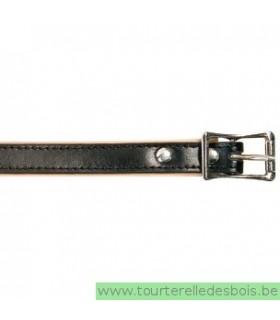 Collier cuir noir 45 cm/16mm