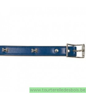 Collier cuir bleu os argenté 45 cm/20mm