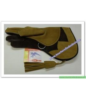 Gant cuir suede camel et brun 36.cm - Droit