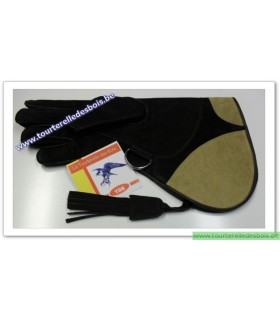 Gant cuir nubuck [2] Large - noir / jaune 36.5cm - DROIT