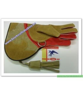 Gant cuir suede [2] Small - camel / oiseau / rouge -