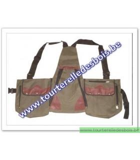 Veste avec poches en canvas vert olive / bordeau