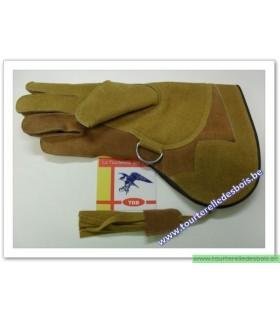 Gant M cuir suede camel et naturel 36.cm main droite