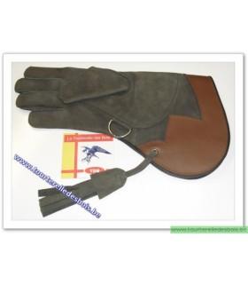 Gant cuir nubuck [2] M - vert olive / rouille - 36 cm - DROIT