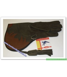 Gant cuir nubuck [2] Large - vert olive / brun pic - 36 cm