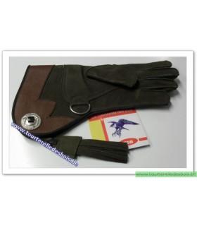 Gant cuir nubuck [2] Taille 4 - enfant - vert olive / marron