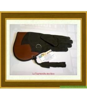 Gant cuir nubuck noir et rouille 36.5cm