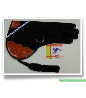Gant cuir suede bleu marine / orange - 35 cm