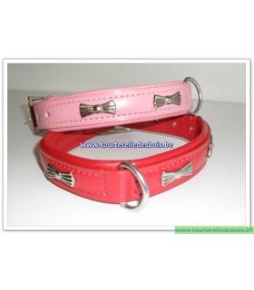 TDB Collier Luxe en cuir rose motifs noeuds 35 cm