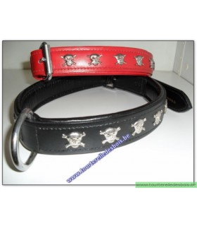 TDB Collier Luxe en cuir rouge motifs pirates 70 cm