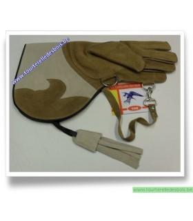 Gant cuir de suede camel / blanc grisé - 38 cm