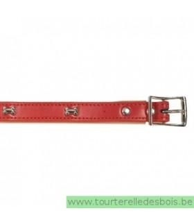 Collier cuir rouge os argenté 45 cm/20mm