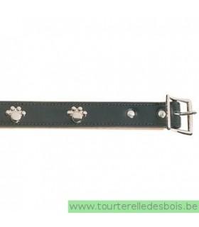 Collier cuir noir patte argenté 40 cm/20mm