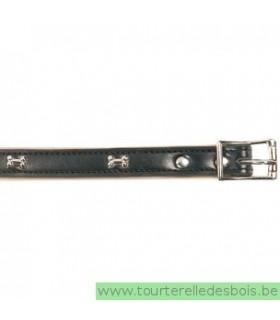 Collier cuir noir os argenté 45 cm/20mm