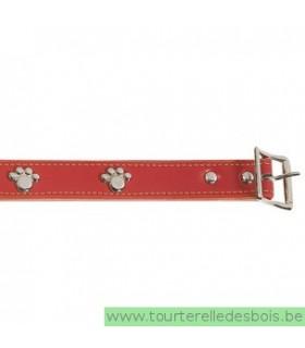 Collier cuir rouge patte argenté 35 cm/20mm