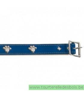 Collier cuir bleu patte argenté 55 cm/25mm