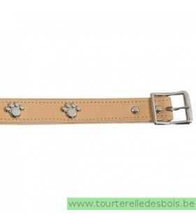 Collier en cuir naturel pattes 45 cm/ 20mm