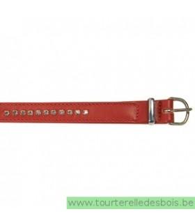 Collier cuir agneau rouge clou argenté 35 cm