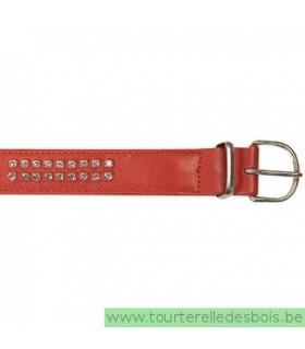 Collier cuir agneau rouge D clou argenté 35 cm