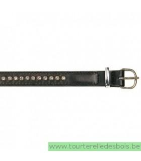 Collier cuir agneau noir clou argenté 30 cm