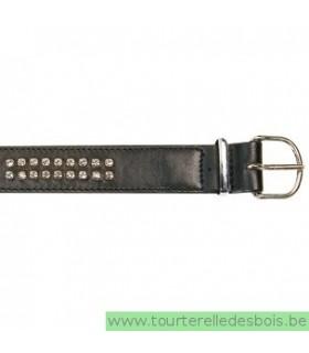 Collier cuir agneau noir D clou argenté 40 cm