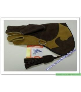 Gant cuir de suede Small marron / camel -34 cm - DROIT