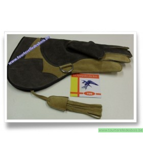 Gant cuir suede camel et brun 39 cm XL