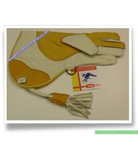 Gant cuir vachette jaune / blanc - 36 cm