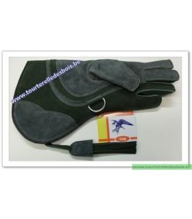 Gant Aigle cuir suede [4] Large - bleu / vert - 36 cm
