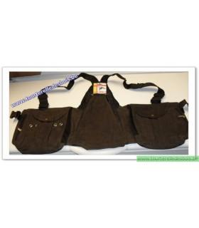 Veste avec poches en cuir nubuck marron