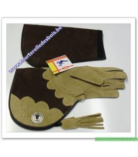 Gant d'aigle en cuir suede de 47 cm avec manchette - gauche