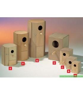 Nid en bois grandes perruches 26.5x26.5x60 cm [G]