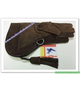 Gant cuir suede [2] Large brun - 36 cm