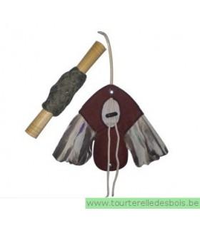 Leurre en cuir avec ailes naturelles 19 x 16 cm +/- 90gr + filière