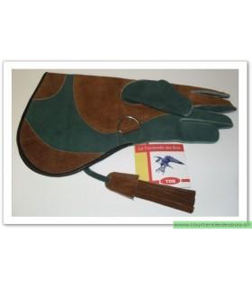 Gant cuir suede [2] M - vert foncé / camel - 36 cm