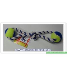 Corde de tirage avec 2 balles de tennis 37.5 cm