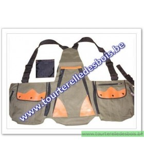 Veste avec poches en canvas vert olive / orange