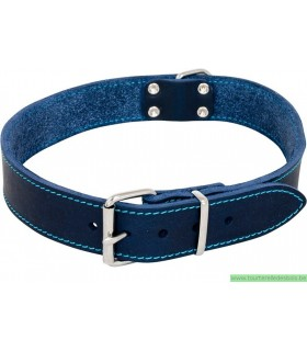 TIMELESS COLLIER EN CUIR GRAS BLEU - 18MM/45CM