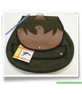 Sacoche de cuir nubuck vert olive avec rabat noiseau brun