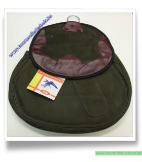 Sacoche de cuir nubuck vert olive avec découpe nbordeau