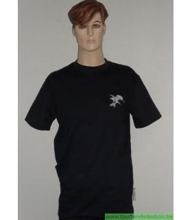 T-Shirt bleu marine 210 grs - L avec broderie faucon bleu