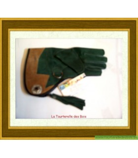 Gant cuir enfant vert olive et camel taille 6 - Droit