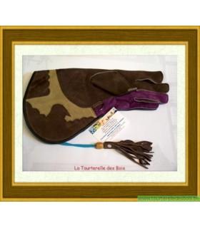 Gant cuir suède marron, camel, mauve 36.5cm